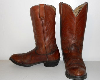 Mens 9.5 D Cowboy Boots Durango Brown Leather Vintage Distressed Rockabilly
