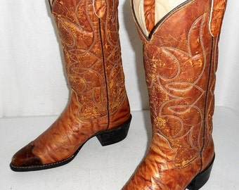 Vintage Bronco cowboy boots Distressed Tan mens size 6.5 D / womens 8 western shoes