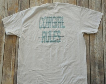 Cowboy Up Cowgirl Rules T Shirt Vintage Country Western Tshirt White Distressed