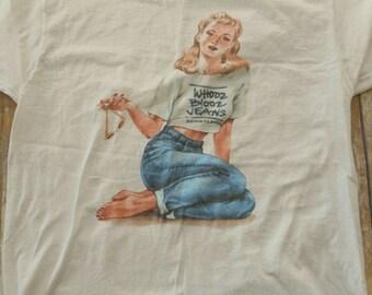 Whooz Blooz Jeans T Shirt Rockabilly Distressed Blonde Girl TShirt Size XL