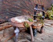 Fairy Furniture set with FREE SHIPPING, Chair and Table made with Natural materials, Miniature Garden, Rustic Fairy House Accessories
