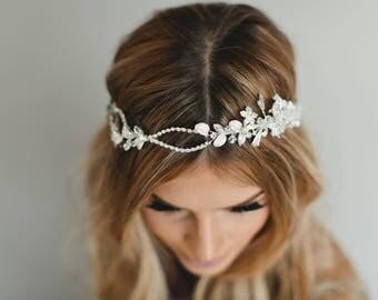 Bridal Headband, Crystal Wreath Gold Bridal Tiara, Silver Bridal Hair Crown, Hair Vine, Wired Floral Headpiece Crystal Bridal Halo 1731