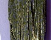 Green Leaves Burnout Silk Jacket with Fringe, Devore, Kimono, Oversized, Plus Sized