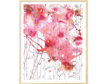 Birch Trees Art, Abstract Watercolor Print, Watercolor Landscape, Woodland Decor, Living Room Art, Pink,11 x 14, Illustration Prints, Forest