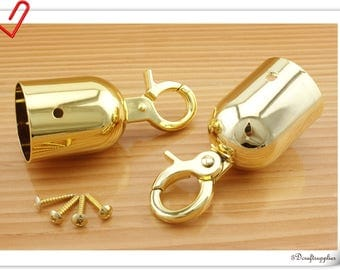 40mm ( 1.5 inch ) Gold Barrier  Rope hook Barrier  Rope Fittings  cord end hook Rope end hook end stopper 2 piece  CK38