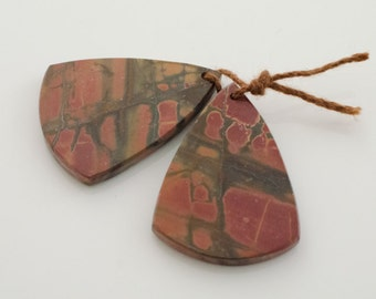 Jasper Earring Pair. Cherry Creek Jasper Fan Earring Pair or Pendants. Matched Pair Earring Components.