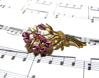 Rose Bouquet Brooch Pin Rose Recycled Jewelry Vintage Jewelry Gold Pin Pink Brooch Gift Ideas