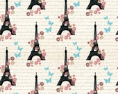 Baby Girl Paris Fabric - Eiffel Tower By Mariafaithgarcia - Baby Girl Butterflies Nursery Cotton Fabric By The Yard With Spoonflower
