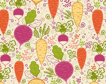 Colorful Veggie Fabric - Growing Root Vegetables By Oksancia - Kids Vegetable Home Decor Cotton Fabric By The Yard With Spoonflower