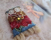Poinsettia bracelet cuff, denim wrist cuff bracelet, Christmas jewelry, sparkly bead embroidery textile jewelry, gift for her