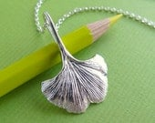 Ginko (Ginkgo) Leaf Pendant Necklace - Pure Silver Real Leaf Pendant, Leaf Jewelry, Botanical Jewelry