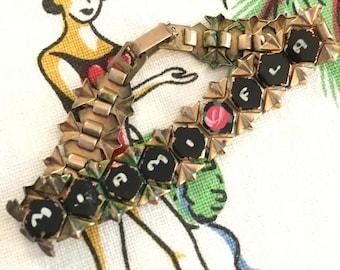 Vintage Miami bracelet Florida souvenir 1940s gold tone enamel roses kitsch Floridiana