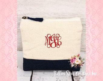 Black bridesmaid bags , bridesmaid make-up bags, monogrammed bag, wedding bag , bridesmaid gifts , personalized bridesmaid gifts