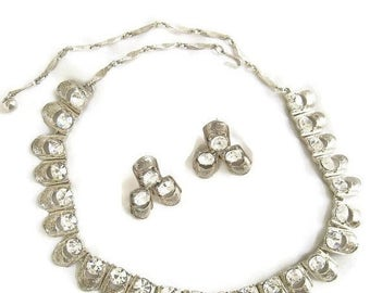 Coro Clear Rhinestone Necklace and Earrings Set Vintage Crystal