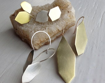 HEX Drop Earrings in Silver or Brass