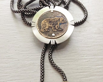 Bear Etched Bolo Tie Necklace -- Acid Bath Series