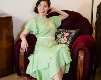 Vintage 1930s Dress - Darling Mint Green Polka Dot Silk 30s Dress with Tiered Ruffle Skirt