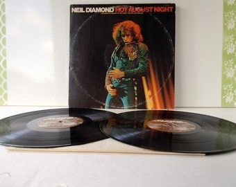 Vintage 1972 Neil Diamond Hot August Night Double Vinyl Record Album Live at the Greek Theatre in Los Angeles MCA 2-8000 MCA Records