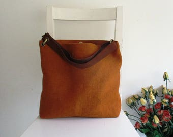 Basic Perfect Shoulder bag / Messenger In Ginger and Brown Leather Strap