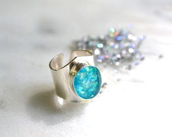 Opal ring, statement ring, cocktail ring, resin, sterling silver, adjustable // AURORA RING