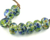 Coral Reef Handmade Glass Lampwork Beads (8 Count) by Pink Beach Studios (1488)