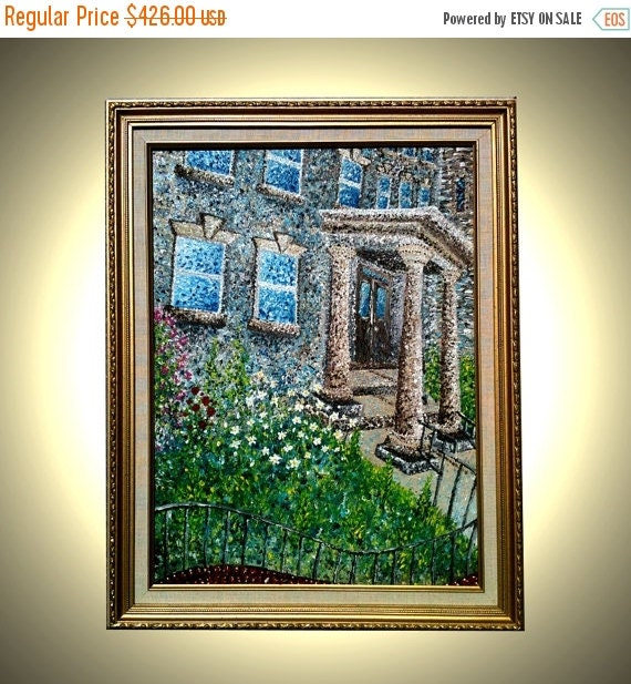 Original Abstract Green Impasto Church Garden Daisies Impressionist Textured Rectory PAINTING, Fine Art by Lafferty - 18x24 - Free Shipping