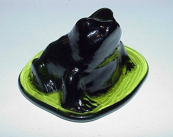 Vintage--Viking Glass--Green Glass--FROG On Base--Paperweight