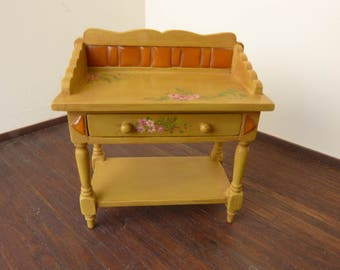 Dollhouse miniature   yellow mustard washstand in 12th scale