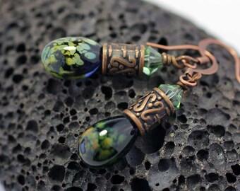 Copper and Raku Lampwork Glass Dangle Earrings SRAJD SRA