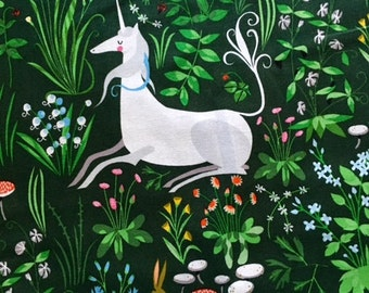 SALE. The lovely hunt by Lizzy House Quilting cotton  Tapestry  in green