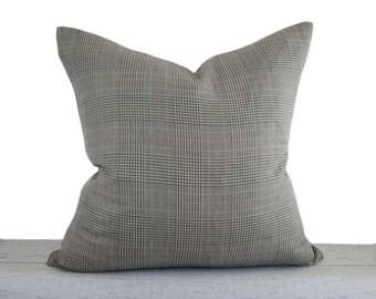 Glen Plaid Pillows, Sage Plaid Pillow Covers, Brown Green White Black Pillows, Plaid Sofa Pillows, Mens Wear Inspired Decor, 18x18 20x20