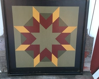 PriMiTiVe Hand-Painted Barn Quilt, Small Frame 2' x 2' - Harvest Star Pattern (River Bank Version)