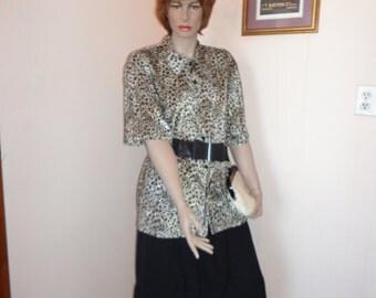 1970's Men's Leopard Print Shirt Sz 20