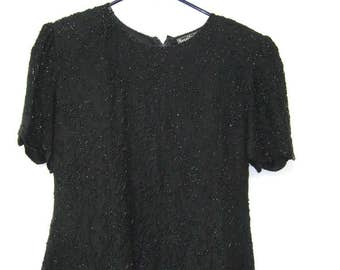 Vintage Black Silk Beaded Blouse Glam Formal Top Womens L
