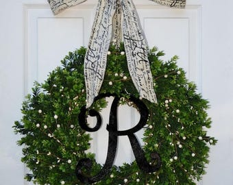 SUMMER WREATH SALE Year Round Wreath, Boxwood Wreath, All Seasons Decor, Wedding Decor, Berry Door Wreath, Fall Wreath, Winter Wreath, Cream
