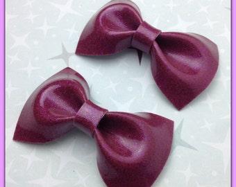 PinUp Bow Rockabilly Bow Purple Glitter Vinyl Hair Bow Small Pinup Bow Glitter Bow vinyl bow Rockabilly Wedding Sparkle Vinyl Psychobilly