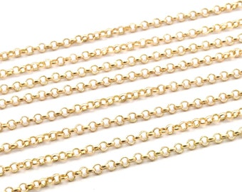 Raw Brass Rolo Chain, Soldered Rolo Chain (2mm) RB 8-17