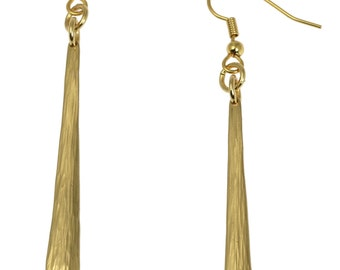 Mini Chased Nu Gold Drop Earrings  - Gold Colored Dangle Earrings - Handmade Red Brass Jewelry for Women