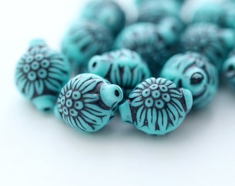 Vintage Turquoise Etched Carved Floral Oval Lantern Beads 13mm (8)