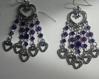 Chandelier Earrings with Amethyst, Swarovski's and dangling Hearts