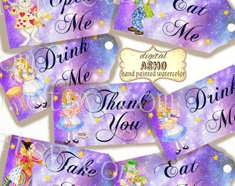 Alice in Wonderland tags, perfect DIY party printable,Watercolour Star Nebula background perfect for parties, presents and invitations.Blue