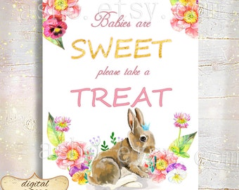Pink Baby Shower Party Favor Sign, Babies Are Sweet Please Take A Treat, Pink Gold Glitter, Baby Shower Decorations, Baby Shower Girl