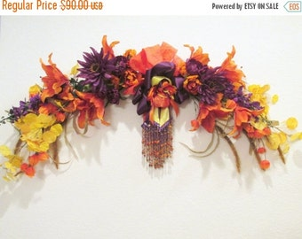 SALE Autumn Fall Wall Swag in Bright Orange Tiger Lilies, Yellow Aspen Leaves, Purple Dahlias detailed Victorian Style Beaded Bow for Home D