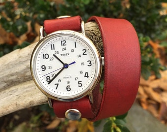 Red Wrap Watch-Timex-Leather Watch-Fossil-Bracelet-Handmade Watch-Sundance-Rugged-Throwback-Bohemian-Fine Leather