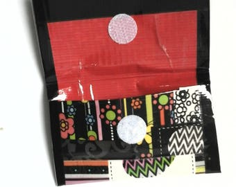 ducttape card purse , multi design, with red interior
