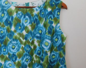 painterly floral in greens...ladies 1960s style summer shift in vintage polished cotton