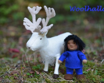 Reindeer Rider- Dollhouse Doll and Wool Felt Reindeer