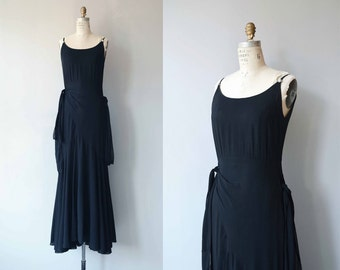 Night Fiction dress | vintage 1930s dress | long silk chiffon 30s dress