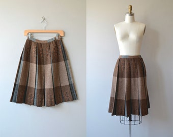 Upland wool skirt | vintage 1950s skirt | plaid wool 50s skirt