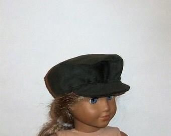 Newsboy Hat, Dark Green, Corduroy, Biker Cap, 18 Inch Doll, 15 Inch baby Doll, Boy or Girl, American Made, Girl Doll Clothes, Accessories